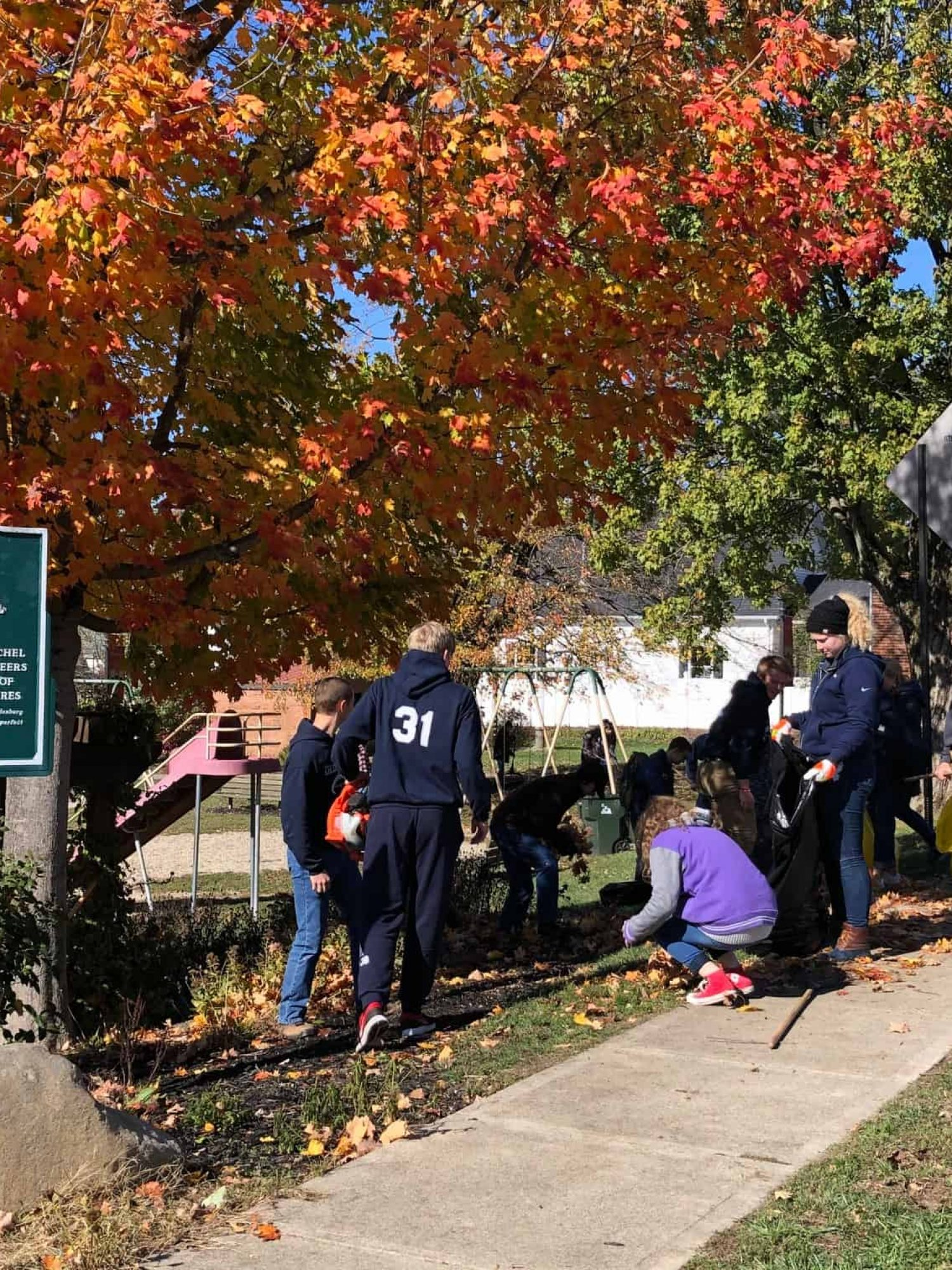 Oldenburg Academy Students Raking Leaves